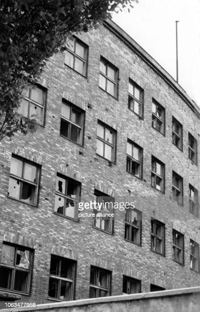 View of the damaged windows in the House of Broadcasting in Berlin on the 24th of June in 1956 shortly before the handover by the Soviets to the...