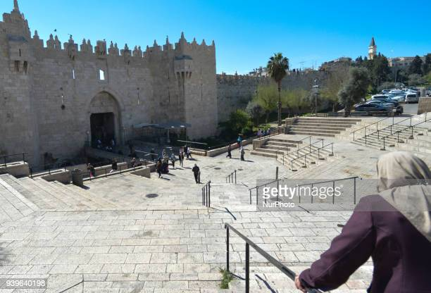 A view of the Damascus Gate one of many entrance gates to the Old City in Jerusalem Wednesday 14 March 2018 in Jerusalem Israel