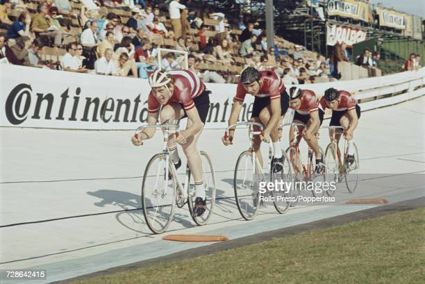 View of the Danish men's team pursuit team pictured in action together during competition in the Men's team pursuit event at the 1970 UCI Track...