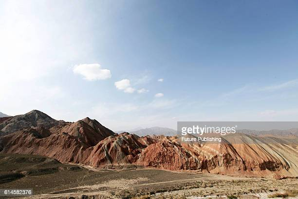 View of the Danxia Landform in Zhangye in northwest China's Gansu province on October 05, 2016 in Zhangye, China. PHOTOGRAPH BY Feature China /...