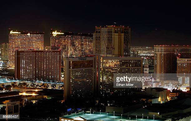 A view of the darkened Las Vegas Strip including the Encore Las Vegas Wynn Las Vegas Treasure Island Hotel Casino Mirage Hotel Casino and the...
