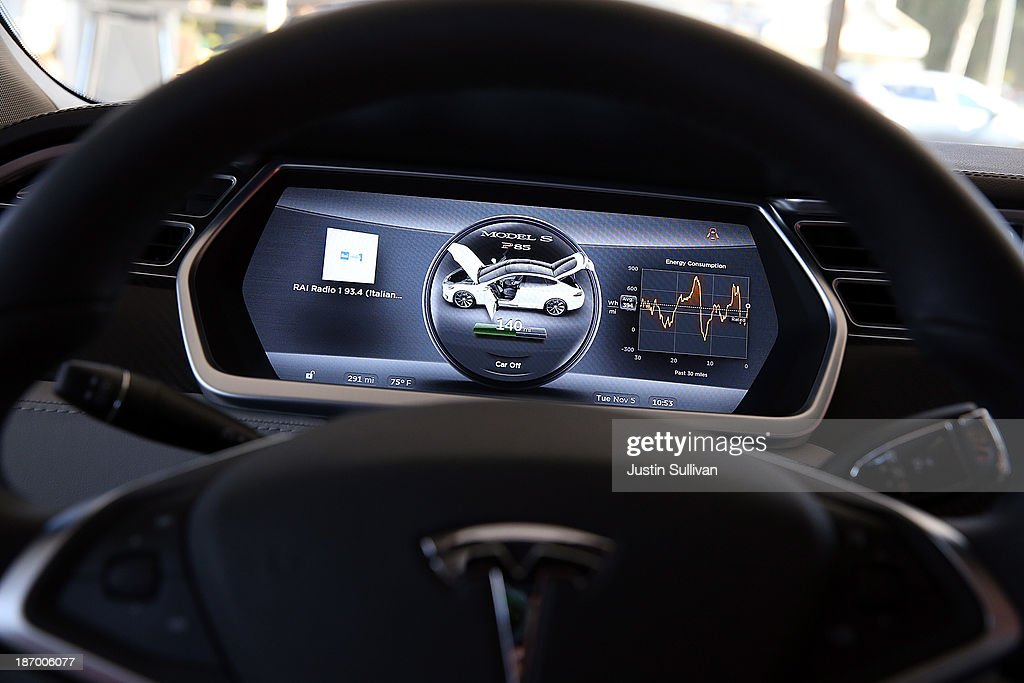 A view of the dashboard in a new Tesla Model S car at a Tesla showroom on November 5, 2013 in Palo Alto, California. Tesla will report third quarter earnings today after the closing bell.