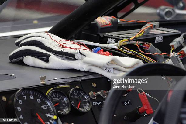 A view of the dashboard inside a Sprint Cup series car during practice for the NASCAR Sprint Cup Series Shelby 427 at the Las Vegas Motor Speedway on...