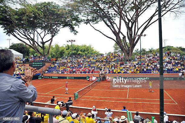 View of the Davis Cup World Group Playoff singles match between Santiago Giraldo of Colombia and Taro Daniel of Japan at Club Campestre on September...