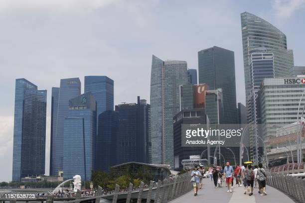 A view of the DBS Bank headquarters Standard Chartered corporate office and HSBC Bank building at Marina Bay Financial Centre Singapore on July 21...