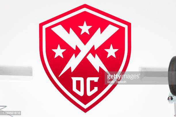A view of the DC Defenders logo on the sidelines before the XFL game between the DC Defenders and the Seattle Dragons at Audi Field on February 8...