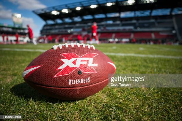 A view of the DC Defenders XFL football on the field before the game between the DC Defenders and the Seattle Dragons at Audi Field on February 8...