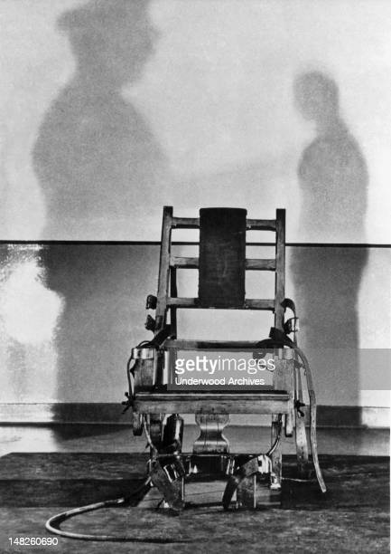 A view of the death chamber and electric chair in Sing Sing Prisonin which convicted atom spies Julius and Ethel Rosenberg are slated to be...