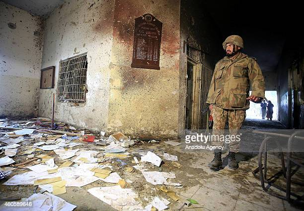 A view of the debris of the armyrun school that was attacked by Taliban on Tuesday in northwestern city of Peshawar Pakistan on December 17 2014...