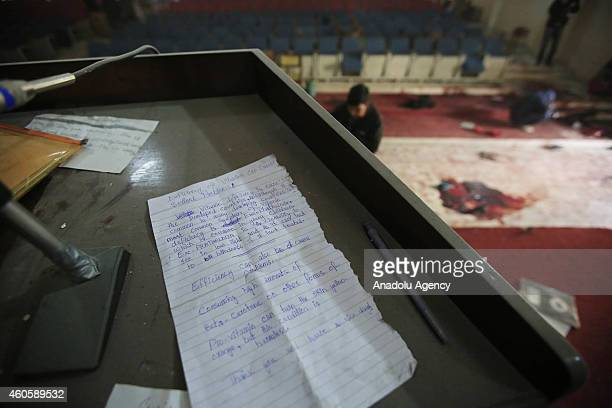 A view of the debris of the conference hall inside the armyrun school that was attacked by Taliban on Tuesday in northwestern city of Peshawar...