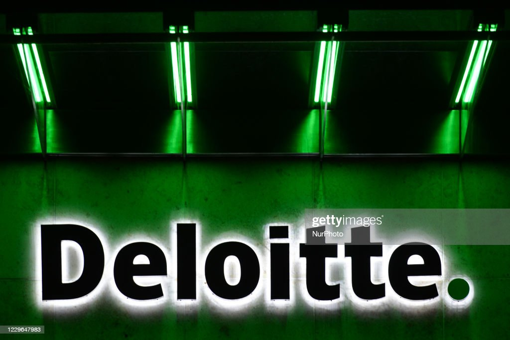A view of the Deloitte logo in the center of Dublin. On Monday,... News  Photo - Getty Images