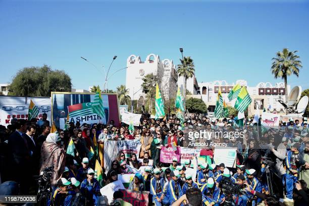 A view of the demonstration site after women parliamentarians and women organizations with the participation of Pakistan's Broadcasting and...