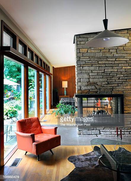 A view of the den through to the living room in Patrick Naughten's winning midcentury house winner of the Post's Mad Men design contest on July 2010...
