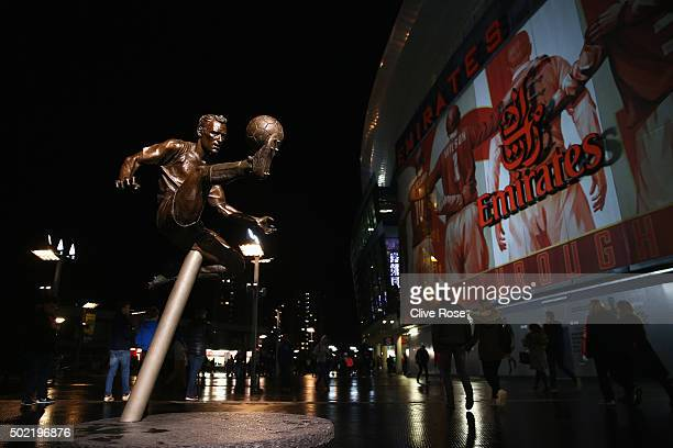 A view of the Dennis Bergkamp statue outside the ground prior to the Barclays Premier League match between Arsenal and Manchester City at Emirates...