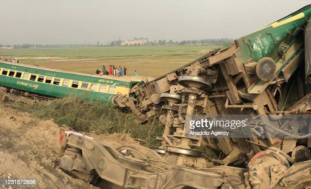 View of the derailed coaches of a Pakistani passenger train following an train accident near Sukkur in southern Sindh province, Pakistan, on March 7,...