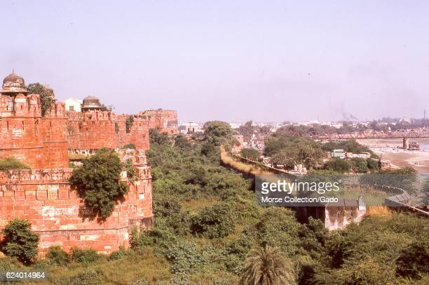 View of the deserted and overgrown land outside the walls of the Jama Masjid Mosque, located in the city of Fatehpur Sikri, in the Agra district of...