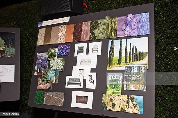 A view of the design moodboard the 68th Emmy Awards Governors Ball and 2016 Creative Arts Balls Press Preview at Los Angeles Convention Center on...