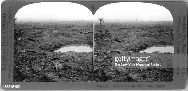 View of the desolate battlefield landscape a No Man's Land near Lens France