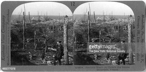View of the desolate waste on the Chemin des Dames battlefield France