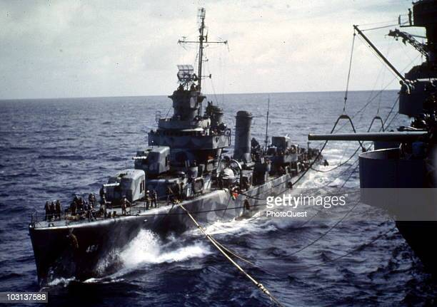 View of the destoyer USS Buchanan as it refuels from the aircraft carrier USS Wasp while en route to Guadalcanal, August 3, 1942. The Wasp was sunk...