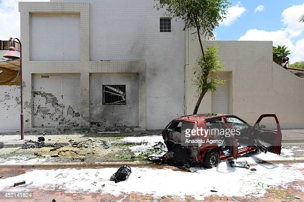A view of the destroyed building in an airstrike staged by Gaza army in Ashdod Israel on July 14 2014