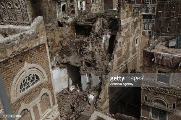 View of the destroyed historical building following heavy rain fall in Sanaa, Yemen on August 06, 2020. Four historical houses have been destroyed in...