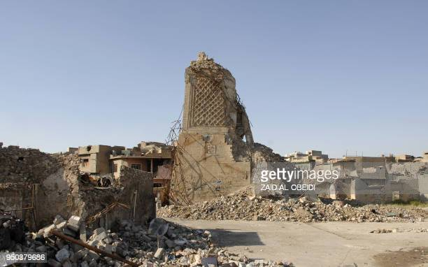 A view of the destroyed leaning minaret dubbed 'the hunchback' or AlHabda at the alNuri mosque is seen in the old city of Mosul in northern Iraq on...