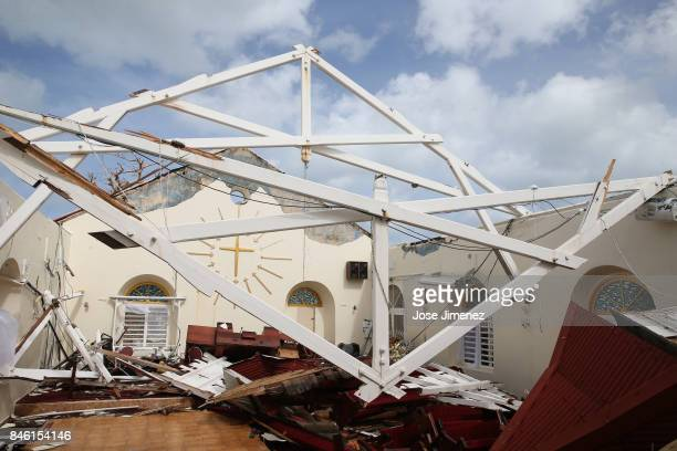 View of the destroyed Methodist church in Marigot Saint Martin days after this Caribbean island sustained extensive damage after the passing of...
