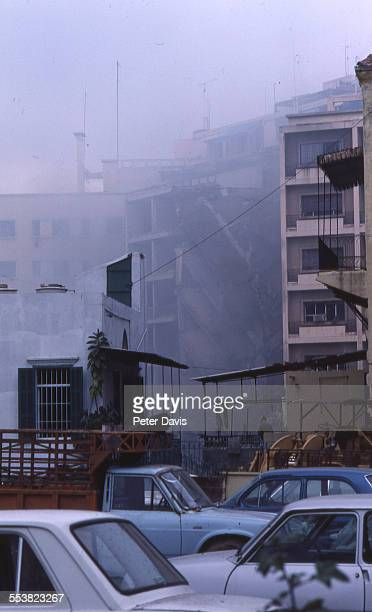 View of the destruction and damage at the scene of the suicide bombing of the American Embassy, Beirut, Lebanon, April 18, 1983.