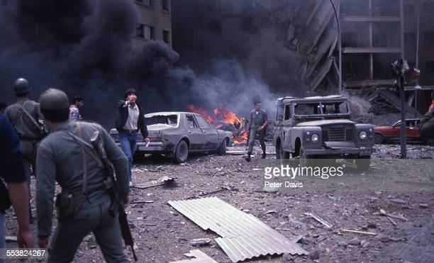 View of the destruction and damage at the scene of the suicide bombing of the American Embassy Beirut Lebanon April 18 1983