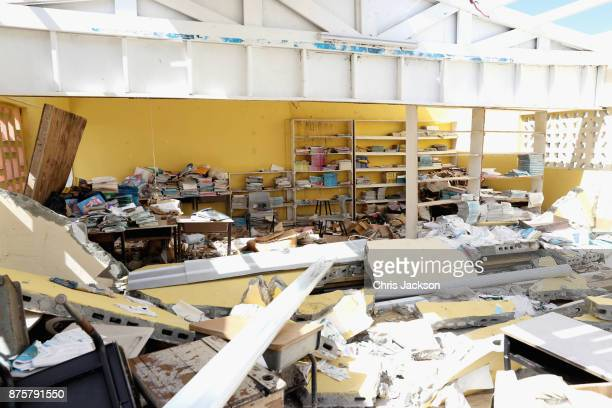 A view of the Destruction as Prince Charles Prince of Wales visits the Holy Trinity School on November 18 2017 in Codrington Barbuda The Prince of...