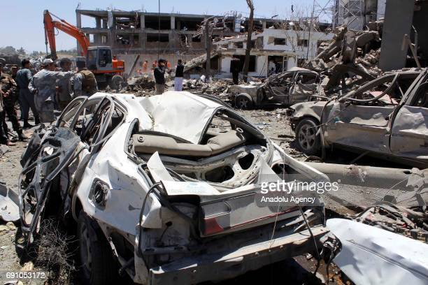 A view of the destruction caused by a suicide truck bomb attack in Kabul Afghanistan on June 1 2017 At least 90 people were killed and over 400 were...