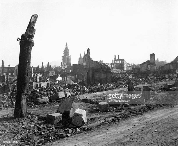 View of the destruction in the city of Heilbronn one of the European cities most devastated during World War II Germany April 1945