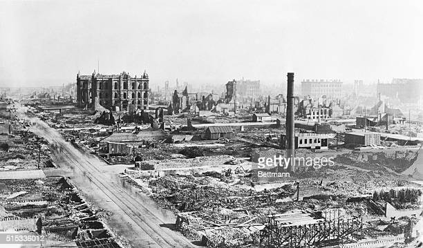 View of the devastation caused by the Chicago fire of 1871