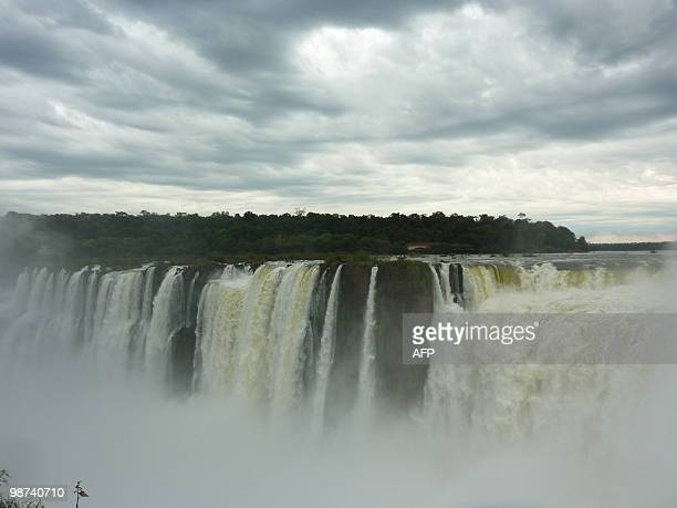 View of the Devil's Throat cataract of the Iguacu Falls taken from the Argentinian side on April 28 2010 The waterfall system consists of 275 falls...