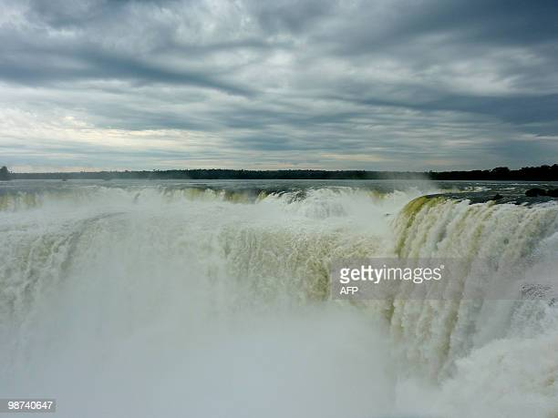 View of the Devil's Throat cataract of the Iguacu Falls taken on the Argentinian side on April 28 2010 The waterfall system consists of 275 falls...