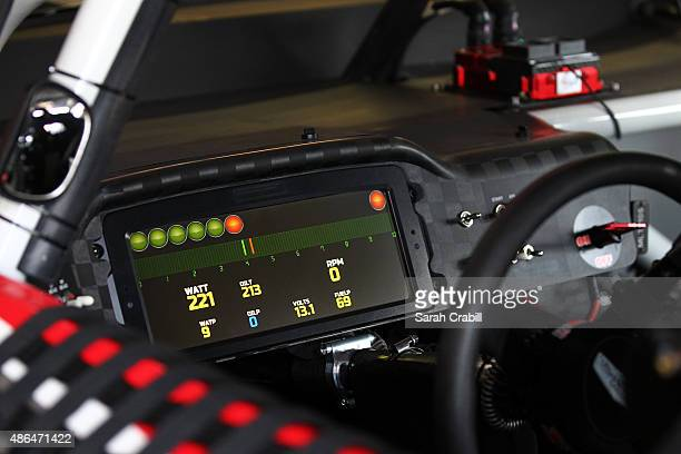 A view of the digital dashboard seen in the car of Kurt Busch driver of the Haas Automation Chevrolet during practice for the NASCAR Sprint Cup...