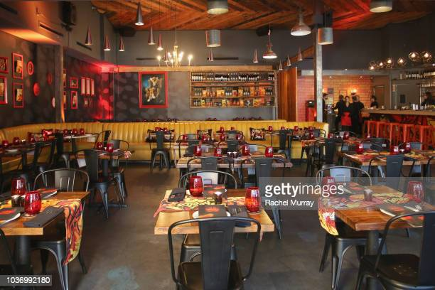 A view of the dining room at The Flamin Hot Spot Cheetos new limitedtime restaurant with a menu inspired by chef Roy Choi at Madera Kitchen on...