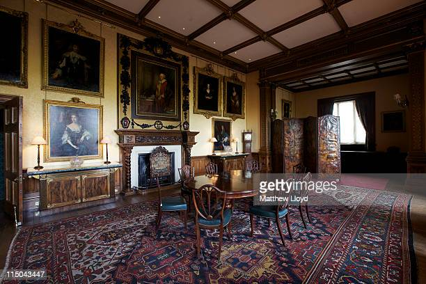 View of the dinning room in Highclere Castle on March 15, 2011 in Newbury, England. Highclere Castle has been the ancestral home of the Carnarvon...
