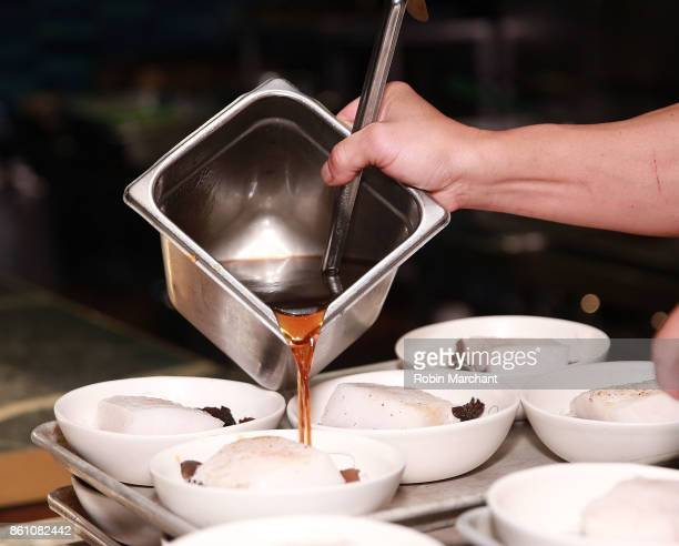 A view of the dishes being prepared during a dinner with Charles Phan Jeremiah Stone and Fabian von Hauske part of the Bank of America Dinner Series...