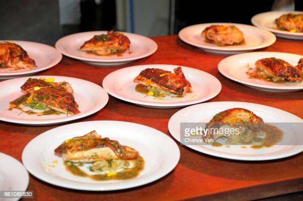 A view of the dishes prepared by Dominique Crenn and Alex Guarnaschelli during a Dinner with Dominique Crenn and Alex Guarnaschelli part of the Bank...