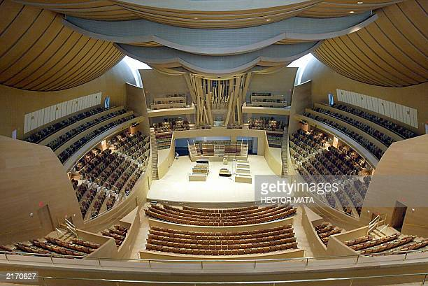 View of the Disney Concert Hall main stage in Los Angeles 17 July 2003. The stage, a 2265 seats space, was designed by architect Frank Gehry and...