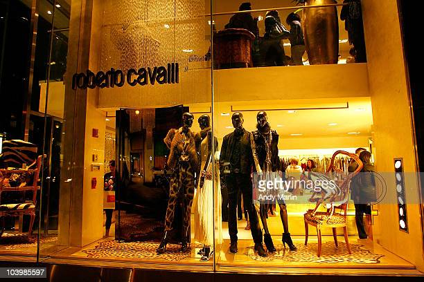 A view of the display window featuring Roberto Cavalli clothing during Roberto Cavalli Celebrates Fashion's Night Out at Roberto Cavalli Boutique on...