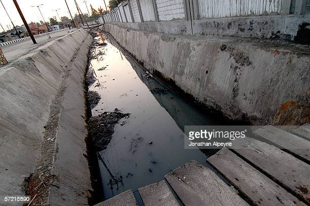 A view of the ditch and wall that separates the town of Siliguri and the brothel area November 11 2005 in Siliguri Utar Pradesh India The Indian...