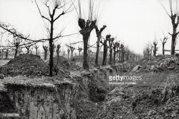 View of the ditch dug by the carabinieri in which the bones of ten victims of the San Possidonio massacre carried out by partisans in the night...