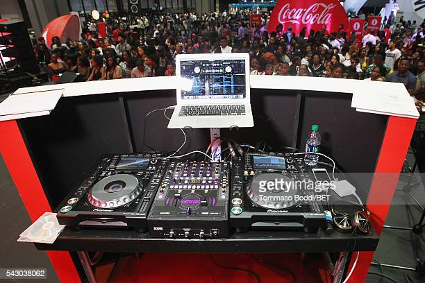 A view of the DJ booth at the Coke music studio during the 2016 BET Experience on June 25 2016 in Los Angeles California