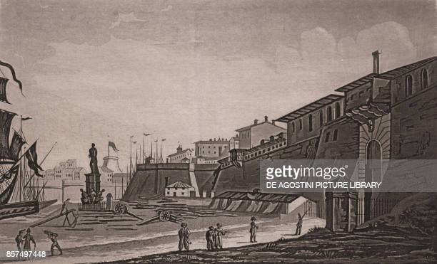 View of the dock with the Monument of the Four Moors in Livorno Tuscany Italy aquatint 193x118 cm from Viaggio in Italia per Francesco Gandini ovvero...