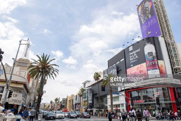 View of the Dolby Theater and Hollywood Boulevard on the day of the Academy Awards ceremony, April 25, 2021 in Hollywood, California. - Usually, the...