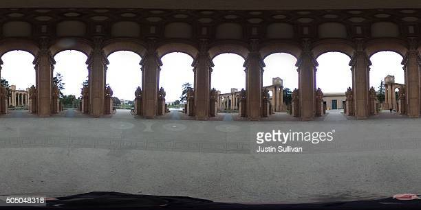 A 360 view of the dome at the Palace of Fine Arts on January 14 2016 in San Francisco California