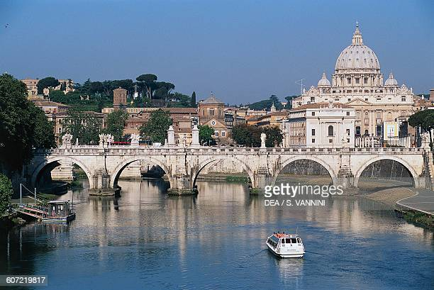 View of the dome of St Peter's basilica and Sant'Angelo bridge Rome Italy
